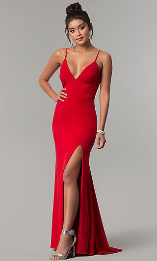 Long Side-Slit V-Neck Formal Red Prom Dress