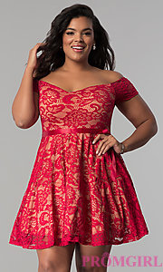 Short Off-the-Shoulder Lace Plus-Size Party Dress