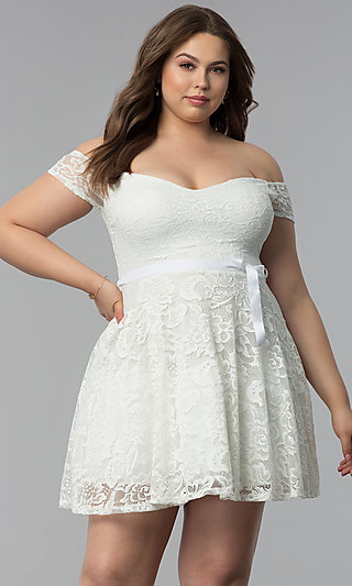 Off-the-Shoulder Lace Plus-Size Party Dress - PromGirl