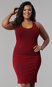 Image of short bodycon red glitter-knit plus-size party dress. Style: KIM-D2129B-F Front Image