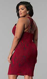 Image of short bodycon red glitter-knit plus-size party dress. Style: KIM-D2129B-F Back Image