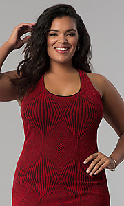 Image of short bodycon red glitter-knit plus-size party dress. Style: KIM-D2129B-F Detail Image 1