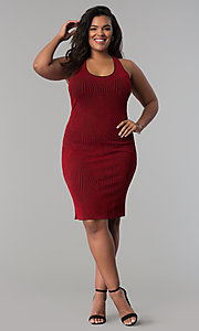 Image of short bodycon red glitter-knit plus-size party dress. Style: KIM-D2129B-F Detail Image 2