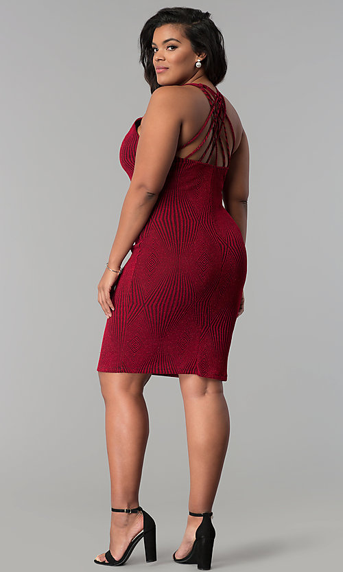Image of short bodycon red glitter-knit plus-size party dress. Style: KIM-D2129B-F Detail Image 3