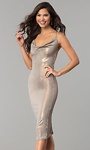 Image of knee-length glitter party dress with cowl neck. Style: KIM-D23053 Detail Image 2