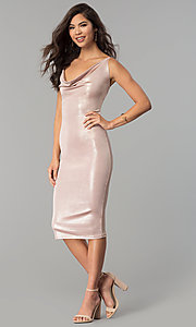 Image of knee-length glitter party dress with cowl neck. Style: KIM-D23053 Detail Image 1
