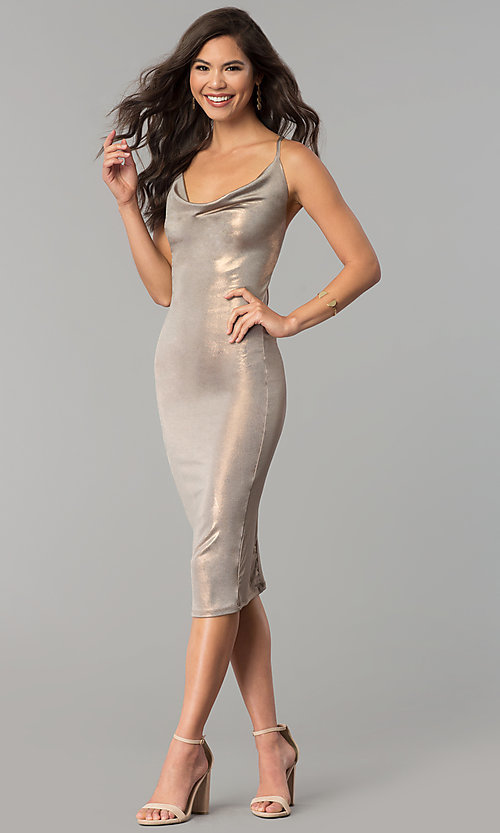Image of knee-length glitter party dress with cowl neck. Style: KIM-D23053 Detail Image 3