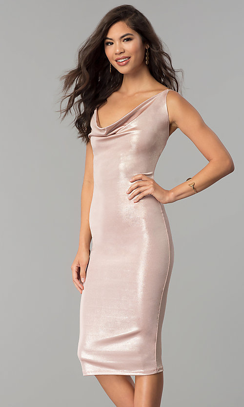 Image of knee-length glitter party dress with cowl neck. Style: KIM-D23053 Front Image