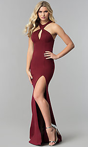 Zoey Grey Racer-Neck Prom Dress with Cut-Outs