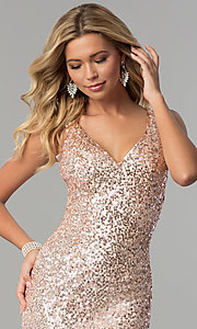 Image of long sequin caged-back prom dress by PromGirl. Style: PV-PL-100 Detail Image 1