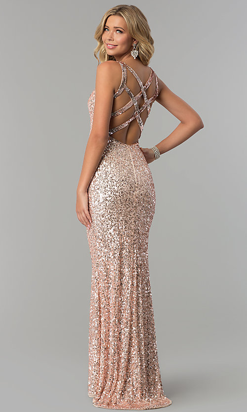 Image of long sequin caged-back prom dress by PromGirl. Style: PV-PL-100 Back Image