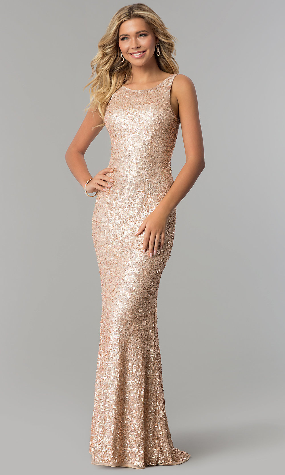 Sequin Caged-Back Long Prom Dress - PromGirl