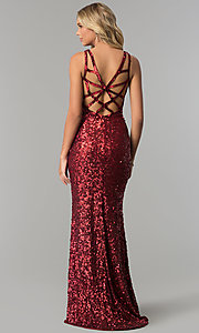 Image of long caged-back sequin prom dress by PromGirl. Style: PV-PL-101 Detail Image 2
