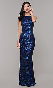 Image of long caged-back sequin prom dress by PromGirl. Style: PV-PL-101 Detail Image 5