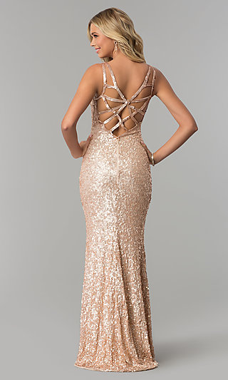 Long Caged-Back Sequin Prom Dress by PromGirl