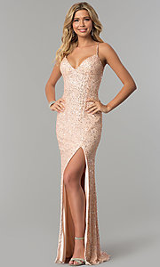 Image of sequined and beaded long prom dress by PromGirl. Style: PV-PL-102 Front Image