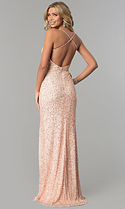 Image of sequined and beaded long prom dress by PromGirl. Style: PV-PL-102 Back Image