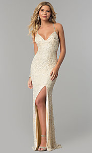 Image of sequined and beaded long prom dress by PromGirl. Style: PV-PL-102 Detail Image 3