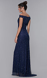 Image of off-the-shoulder long prom dress by PromGirl. Style: PV-PL-105 Back Image