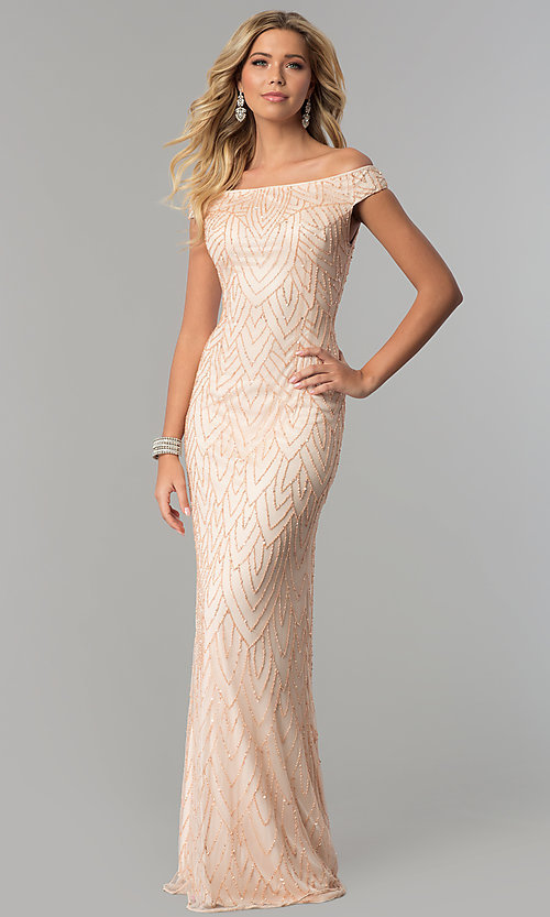 Image of off-the-shoulder long prom dress by PromGirl. Style: PV-PL-105 Front Image