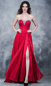 strapless prom dress with an open corset back