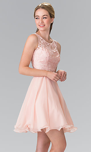 Short semi formal homecoming party dresses promgirl for Wedding guest dress blush pink