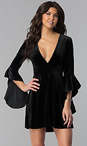 V-Neck Short Holiday Velvet Party Dress with Sleeves