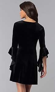 Image of v-neck short holiday velvet party dress with sleeves. Style: VJ-VD32216 Back Image