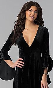 Image of v-neck short holiday velvet party dress with sleeves. Style: VJ-VD32216 Detail Image 1