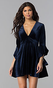 Image of v-neck short holiday velvet party dress with sleeves. Style: VJ-VD32216 Detail Image 2