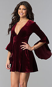 Image of v-neck short holiday velvet party dress with sleeves. Style: VJ-VD32216 Detail Image 3