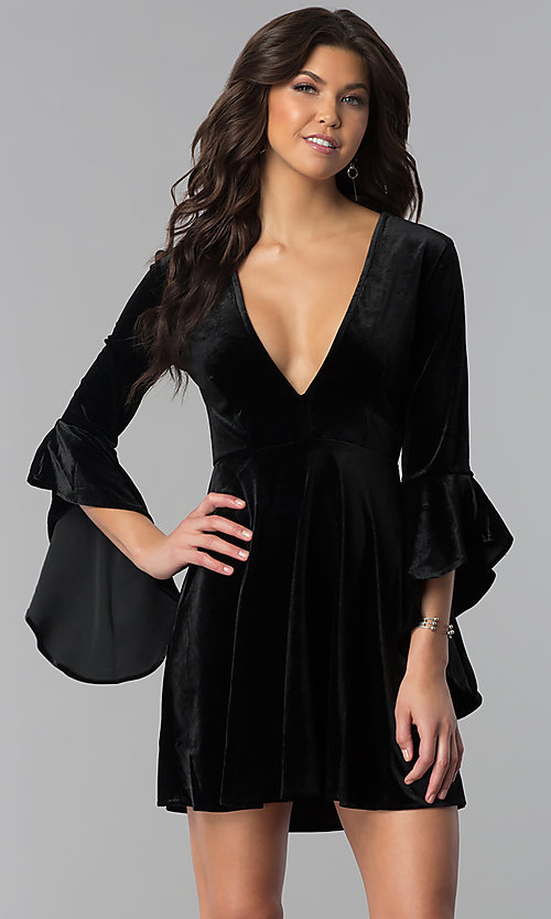 Image of v-neck short holiday velvet party dress with sleeves. Style: VJ-VD32216 Front Image