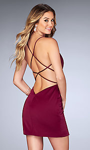 Image of short open-back ruched party dress by La Femme. Style: LF-25127b Back Image