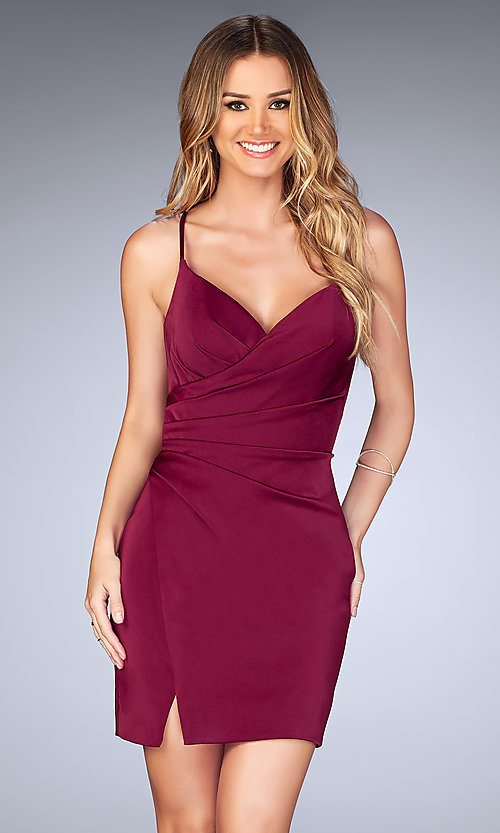 Image of short open-back ruched party dress by La Femme. Style: LF-25127b Detail Image 1
