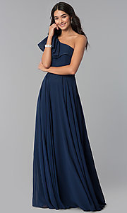 Image of long one-shoulder evening dress with ruffles. Style: CD-GL-G794 Detail Image 1