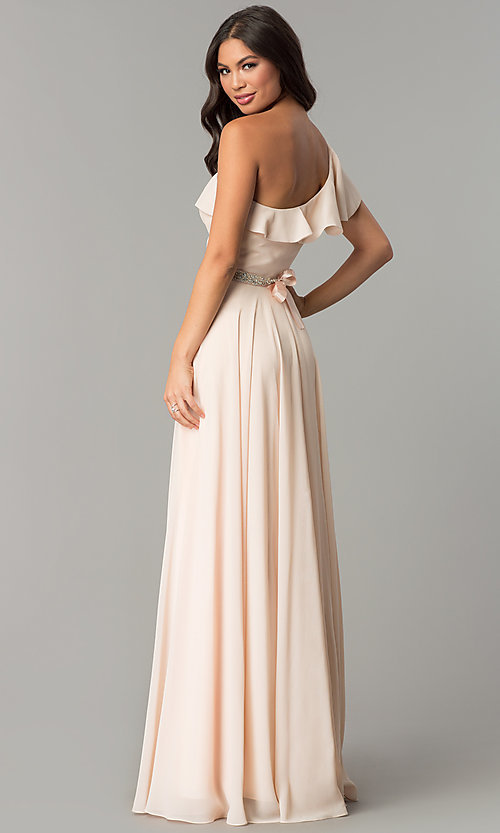 Image of long one-shoulder evening dress with ruffles. Style: CD-GL-G794 Back Image