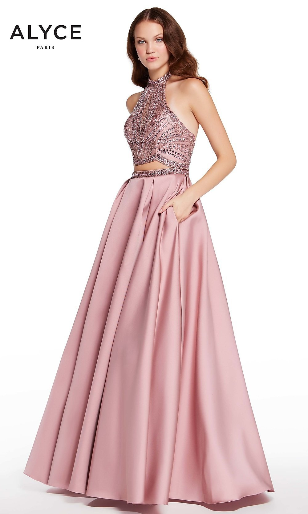 c4212478d8 Long Two-Piece Prom Dress with Halter Top by Alyce