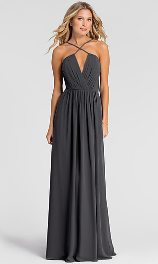 Bill Levkoff Deep-V-Neck Long Bridesmaid Dress