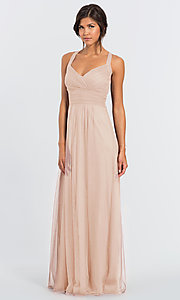 Image of #LEVKOFF long tulle a-line bridesmaid dress. Style: BLF-L-7012 Detail Image 5