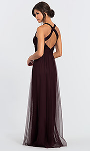 Image of #LEVKOFF long tulle a-line bridesmaid dress. Style: BLF-L-7012 Back Image