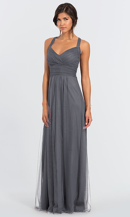 Image of #LEVKOFF long tulle a-line bridesmaid dress. Style: BLF-L-7012 Detail Image 4