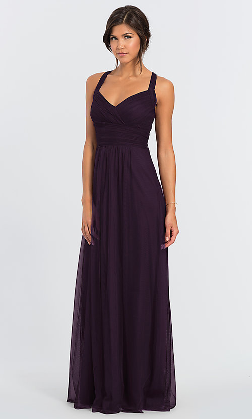 Image of #LEVKOFF long tulle a-line bridesmaid dress. Style: BLF-L-7012 Front Image