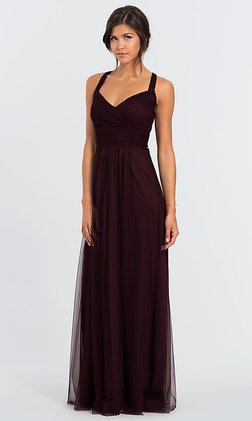 Image of #LEVKOFF long tulle a-line bridesmaid dress. Style: BLF-L-7012 Detail Image 1