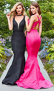 Image of long v-neck black prom dress by Clarisse. Style: CLA-3416 Detail Image 2