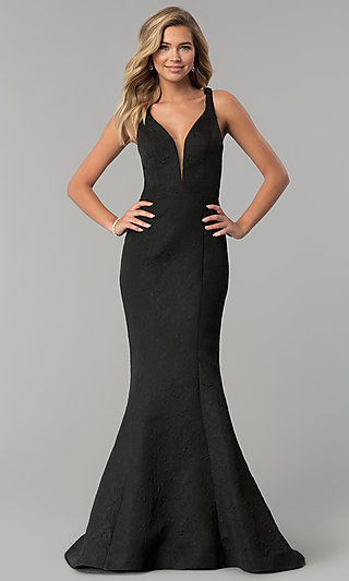 Long V-Neck Black Prom Dress by Clarisse