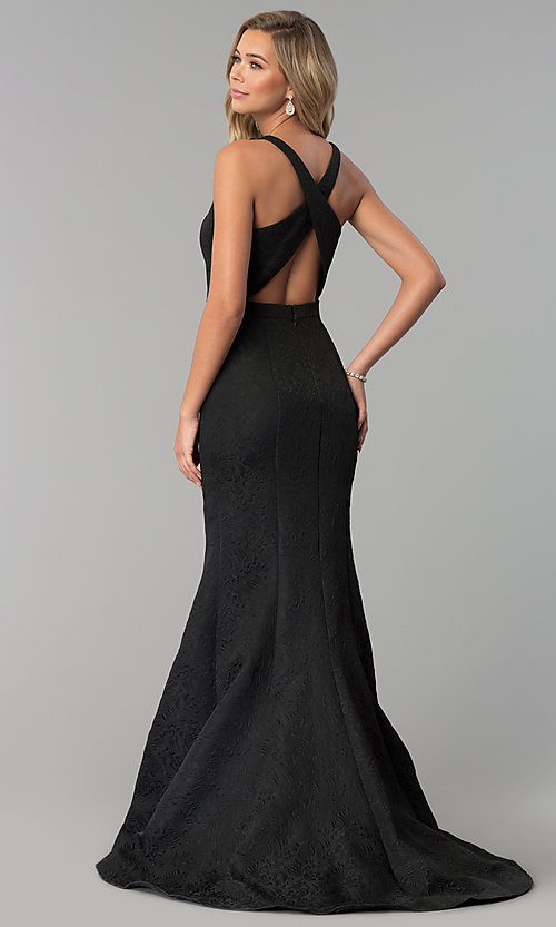 Image of long v-neck black prom dress by Clarisse. Style: CLA-3416 Back Image