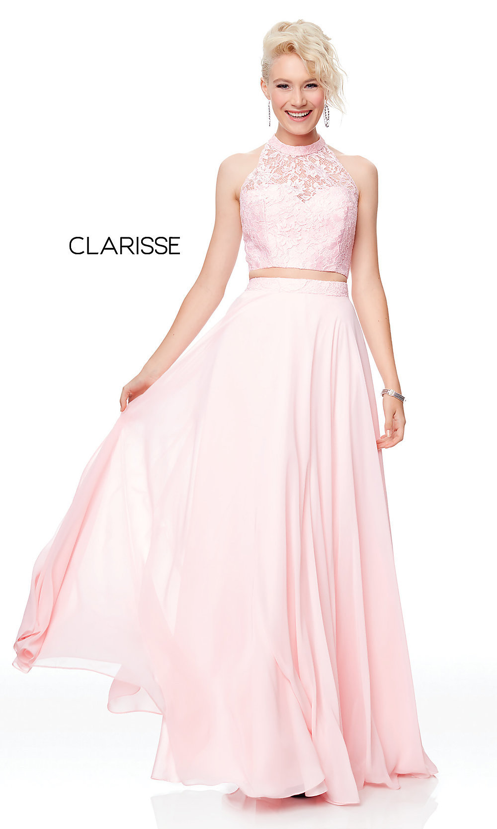 6638cf321962372 Lace-Top Two-Piece Chiffon Prom Dress - PromGirl