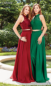 Image of long two-piece chiffon prom dress with lace top. Style: CLA-3427 Detail Image 6