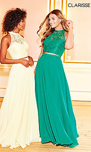 Image of long two-piece chiffon prom dress with lace top. Style: CLA-3427 Detail Image 7