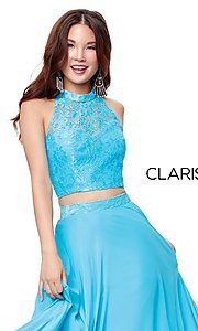 Image of long two-piece chiffon prom dress with lace top. Style: CLA-3427 Detail Image 5